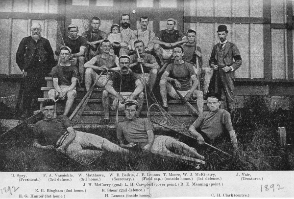 Barrie Lacrosse Team Intermediate Champions 1892