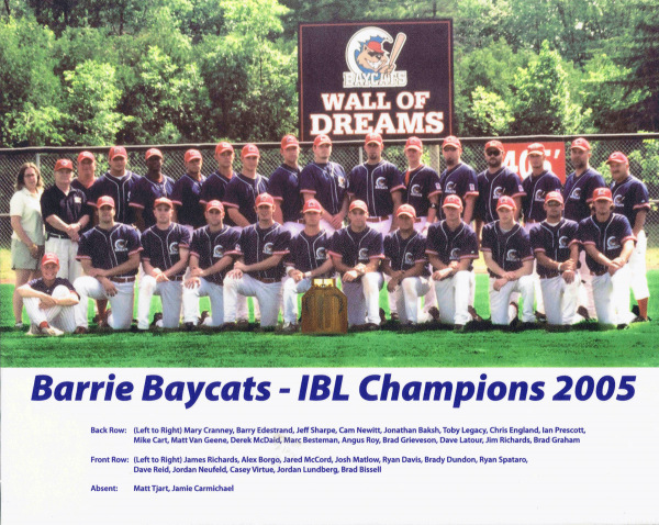 2005 Barrie Baycats Baseball Club Inter county Baseball league Champions
