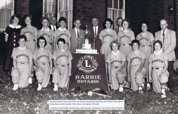 1958 Hillcrest Monarchs Prov.Women's Softball Union Juv.