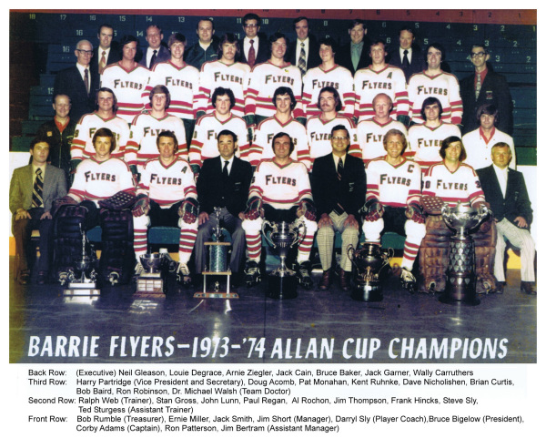 Barrie Flyers 1974 Allan Cup Champions