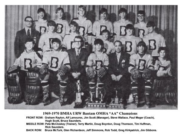 "1969-1970 BMHA URW Bantam OMHA ""AA"" Champions"