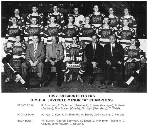 1957-58 Barrie Flyers Juvenile Hockey Club Ont. Minor Hockey Association Juvenile Minor